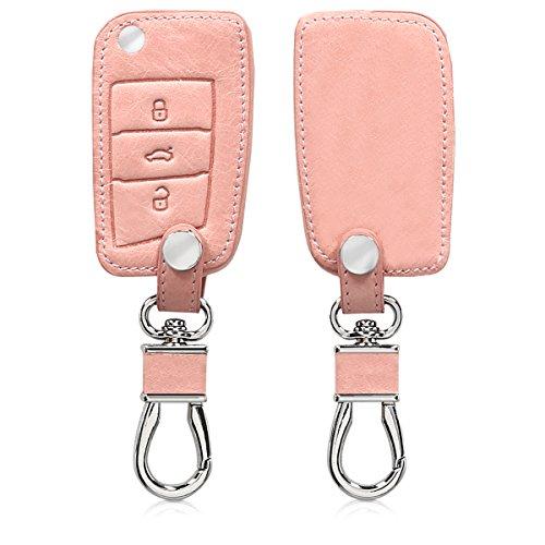 kwmobile Autoschlüssel Hülle kompatibel mit VW Golf 7 MK7 3-Tasten Autoschlüssel - Kunstleder Schutzhülle Schlüsselhülle Cover - Rosegold