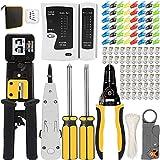 MAYLINE - Crimpadora rj45 profesional herramientas kit de red, pelacables, mantenimiento del ordenador, kit LAN Tester del cable 109 en 1 herramientas de reparación (negro)
