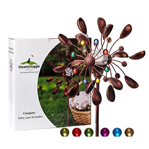 Solar Metall Windrad - mit LED-Licht und Schmucksteinen - Windspiel für draußen - leichter Aufbau - extra antike Gartendeko - wetterfest, standfest - ideal für Terrasse und Garten - Höhe: 190 cm