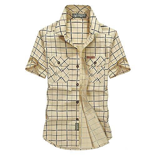Camisa a Cuadros de Manga Corta Camisa de Hombre Casual Fina de algodón Puro de Verano para Hombres