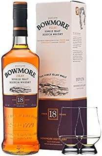 Bowmore 18 Jahre Islay Single Malt Whisky 0,7 Liter  2 Glencairn Gläser