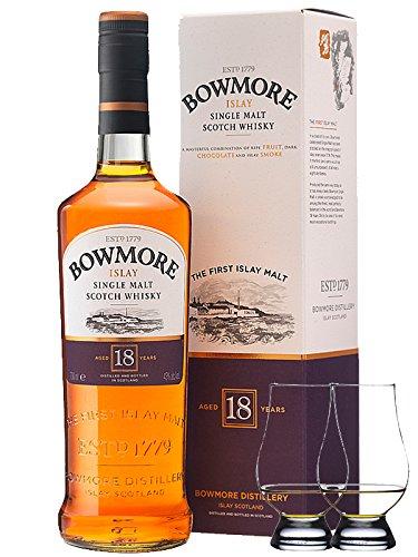 Bowmore 18 Jahre Islay Single Malt Whisky 0,7 Liter + 2 Glencairn Gläser
