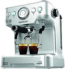 Cecotec Cafetera Express Power Espresso 20 Barista Pro. Thermoblock para Café y Espumar Leche, 20 Bares, Manómetro PressurePro,ModoAuto para 1 y 2 cafés,Vaporizador Orientable,2900W