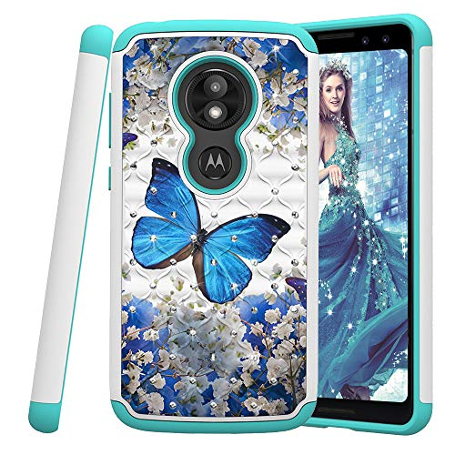 COTDINFOR Motorola Moto E5 Play Hülle Bling Diamond Handyhülle Heavy Duty Protective Dual Layer Silicone Plastic Armor Shock Absorbing Etui für Motorola Moto E5 Play. 2 in 1- Blue Butterfly YB