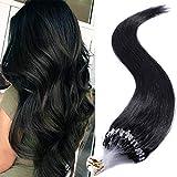 50cm - Micro Ring Extensiones Queratina de Cabello Natural [0.5g*100pcs] Pelo Humano Human Hair Extensions - 1# Negro Azabache