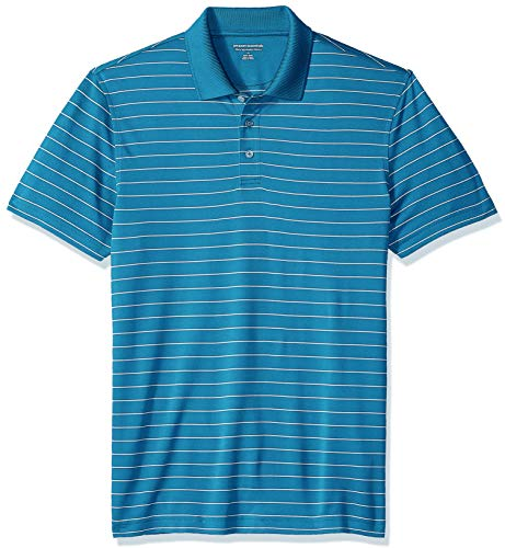 Amazon Essentials Men's Slim-Fit Quick-Dry Golf Polo Shirt, Dark Teal Stripe, Small