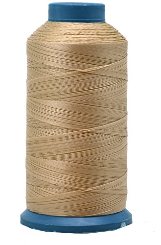 Mandala Crafts Bonded Nylon Thread for Sewing Leather, Upholstery, Jeans and Weaving Hair; Heavy-Duty; 1500 Yards Size 69 T70 (Tan)