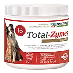 Vet Recommended and Top Show Dogs use Total-Zymes. Treats 365 cups of pet food The most powerful enzymes product for your pet for over 9 years.  Helping pets look and feel great GMP Certified and Formulated and Bottled in the USA; New More Enzymes fo...