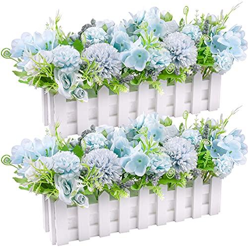 Künstliche Rose Blumen gefälschte Hortensien Pflanzen in Streikposten Zaun Topf für Home Küche Windowsill Hochzeitsfeier Dekoration, 2er-Set (Blau)