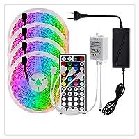 ZHUSHI LEDストリップRGB 2835/5050 5M 10M 15M RGBカラー可変式LEDストリップ+リモコン+ 12V電源アダプタ (Color : 5050, Size : 20M)