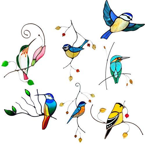 Foxlove Vogel-Fensteraufkleber Zum Schutz 7 Aufkleber Gegen Vogelschlag Fensterbilder Selbstklebend Fenstersticker Kolibri Wintergarten Vogelschutz Aufkleber