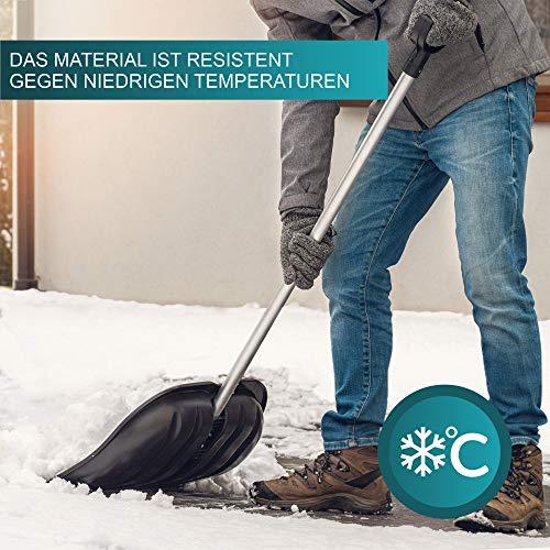 KADAX Schneeschaufel mit ergonomischem Griff, Kunststoff-Blatt, Schneeschieber, ideale Schneeschippe für kleine und große Schneemengen, Schneeräumer, stabil (Aluminium-Stiel, schwarz) - 3