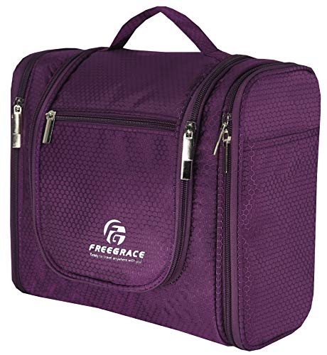 Hanging Toiletry Bag Extra Large Capacity | Premium Travel Organizer Bags For Men And Women | Durable Waterproof Nylon Bathroom, Shower, Makeup Bag For Toiletries, Cosmetics, Brushes (Purple)