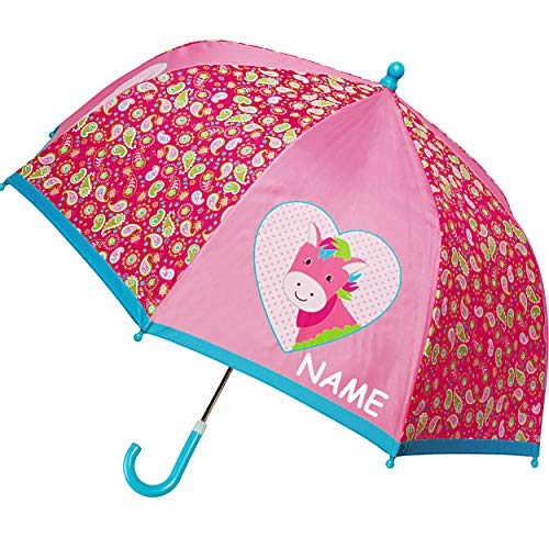 alles-meine.de GmbH Regenschirm / Kinderschirm -  Pferd & Herzen  - inkl. Name - Ø 72 cm - Kinder Stockschirm - für Mädchen Nylon Nylonschirm - Schirm Kinderregenschirm / Glock..