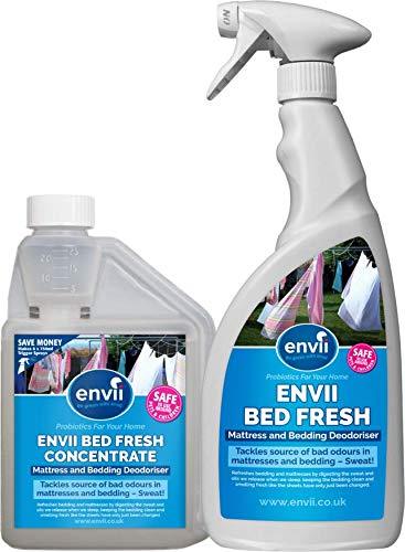 Envii Bed Fresh – Desodorante para Colchón y Ropa de Cama, Limpiador y Neutralizador de Olores en Spray (500 de concentrado y pulverizador de 750ml)