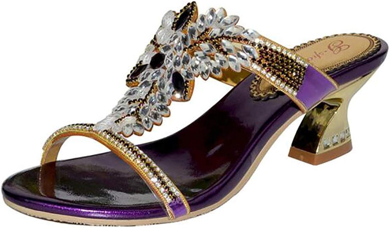 Fashion Women's Manually Rhinestone Flower Sparkling Diamond Summer Thickness Heel Slipper Sandals
