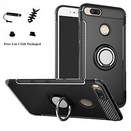 LFDZ Xiaomi Mi 5X / Mi A1 Custodia, Resistente TPU Case Design 360 Grado Rotazione Protective Custodia Cover per Xiaomi Mi 5X / Mi A1 Smartphone,Nero