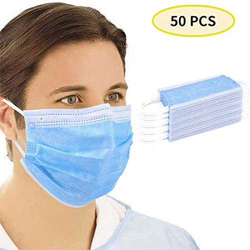 50 Pcs Face Protection Pad 3-Layer Disposable Face Dust Protection