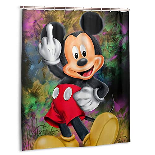 Camping Duschvorhang Micky Maus Exquisit Duschvorhang Fenster Polyester Waterproof Fabric Bath 150*180Cm Top Qualität Wasserdicht, Anti-Schimmel-Effekt 3D Digitaldruck Inkl. 12 Duschvorhangringe