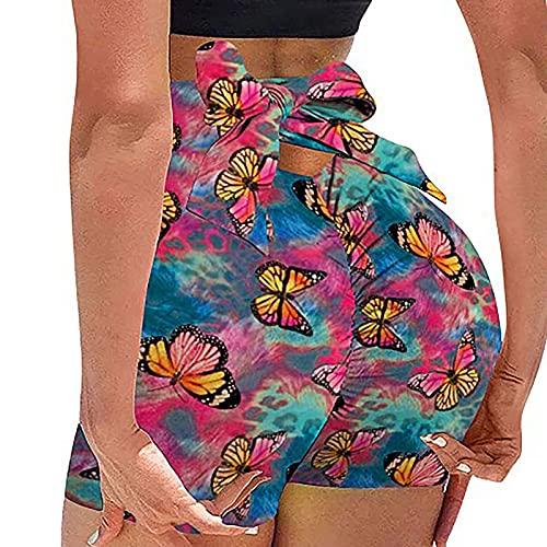 Pantalones cortos de yoga sexy para mujer, cintura alta, atar con nudo de lazo, levantamiento de glúteos, control de barriga, para entrenamiento, correr, fitness, Mariposa, XL