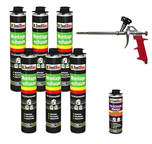 SET Pistolenschaum 6 Dosen 750 ml Montageschaum 1K Bauschaum PU-Schaum + 1 Reiniger + 1 Schaumpistole