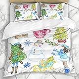 Juegos de fundas de edredón Muñeco de nieve azul Navidad Invierno Acuarela Mano Alegría Patrón de vacaciones Artístico Color brillante Pintura Ropa de cama de microfibra con 2 fundas de almohada Cuida