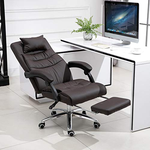Fast delivery-High Back Executive Office Chair, Comfortable Leather Desk Computer Chairs with Arms and Back Support, Recliner Office Chair with Footrest (Coffee)