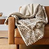 Amazon Basics Fuzzy Faux Fur Sherpa Throw Blanket, 50'x60' - Beige Animal Print