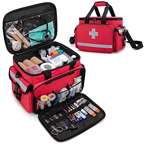 CURMIO メディカルバッグ 救急バッグ 家庭 学校 アウトドア スポーツ 部活 看護 応急処置(バッグのみ)(特許取得済みのデザイン)赤