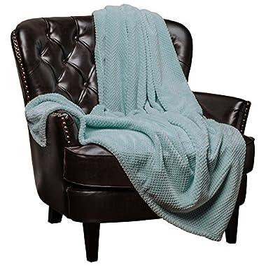 Chanasya Super Soft Warm Elegant Cozy and Decorative Velvet Fleece Aqua Blue Microfiber Throw Blanket (50  x 65 ) - Round Popcorn Texture Turquoise Teal