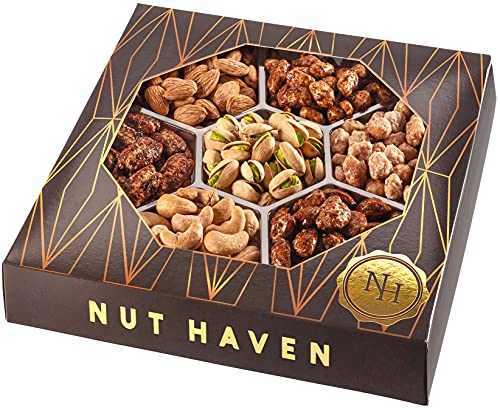 Holiday Nuts Gift Basket - Fresh Sweet & Salty Dry Roasted Gourmet Nuts Gift Basket - Food Gift Basket for Christmas, Thanksgiving, Fathers Day, Mothers Day, Family, Men & Women