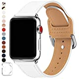 POWER PRIMACY Bands Compatible with Apple Watch Band 38mm 40mm 42mm 44mm, Top Grain Leather Smart Watch Strap Compatible for Men Women iWatch Series 6 5 4 3 2 1,SE(White/Silver, 38mm/40mm)