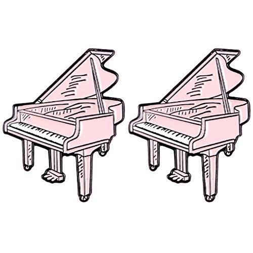 CoSunny Piano Lapel Pin 2 Stuks Set Muziek Apparatuur Emaille Broche Pins Badges Kleding Accessoires Geschenken