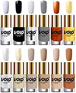 Volo Luxury Super Shine Nail Polish Set of 12 Vibrant Shades (Matte White, Black, Extra Shine Top Coat, Grey, Red Gold, Golden, Metallic Silver, Light Golden, Nude Tude)