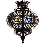 Lorient lampada orientale Cleopatra marrone/rame anticato H 42 cm Orient lampada da soffitto in metallo per motivi favolosi come da 1001 notte -- 100% tradizionale artigianato in Marocco