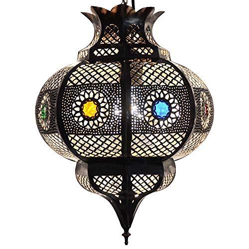 LORIENT Orientalische Lampe Cleopatra Braun/Kupfer-Antik H 42 cm Orient Deckenlampe aus Metall für märchenhafte Muster wie aus 1001 Nacht | 100{80d94295904356686fc8e252e1f9de499674d8ffd4a44e52de30796d3103f6dc} traditionelle Handarbeit | Echtes Kunsthandwerk Marokko