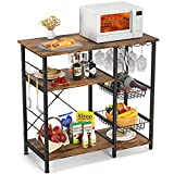 Homfio Kitchen Baker's Racks, Utility Kitchen Storage Shelf Microwave Oven Stand with Wine Glass Holder, 3-Tier+4-Tier Table for Spices and Pots, Workstation Kitchen with 5 S-Shape Hooks