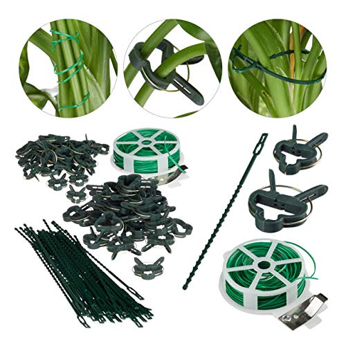 Relaxdays Pflanzenhalter, grün Set 110-teilig, stabile Pflanzenclips, Bindedraht mit Cutter, Rankhilfe Rosen, Tomaten, 110er Pack
