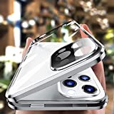 HENGHUI Lockable Magnetic Case for iPhone 12 Pro Max Glass Case with Camera Lens Protector Screen Protector Safety Lock 360 Full Body Double Sided Glass Bumper Case Clear Cover (12ProMax, Silver)