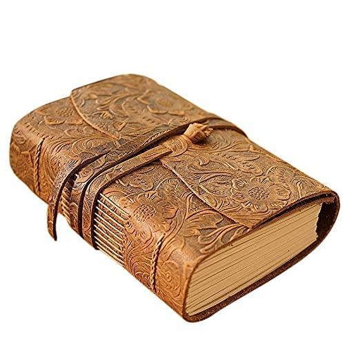 Libro de Diario de Cuero Grueso 400P Papel en Blanco Sketchbook Hecho a Mano Notebook 165x115x40mm Papel Kraft Diario Retro Europeo Cuaderno (Color : Brown)