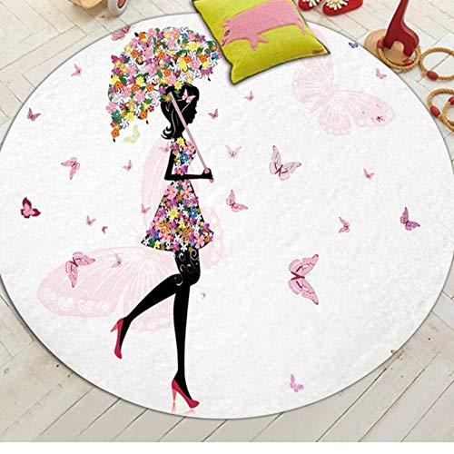 Yang Jingkai ronde tapijten meisje kleur schilderij serie kindertapijten anti-slip ronde omgeving tapijten voor woonkamer, badkamer tapijt