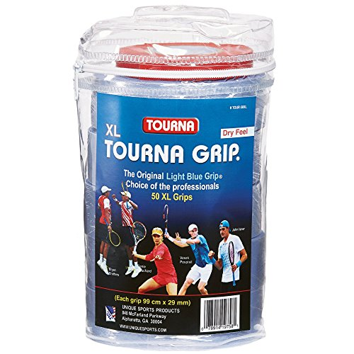 Tourna TG50XL-Confezione da 50 Nastri per Racchetta da Tennis, Colore: Blu