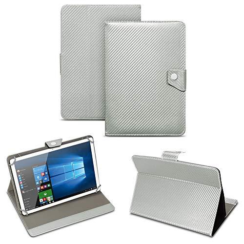 NAUC Universal Tablet Tasche mit Standfunktion Hülle für Blaupunkt Endeavour 101M 101G 101L Tablet Schutztasche in Edler Carbon-Optik Schutzhülle Cover Hülle, Farben:Silber
