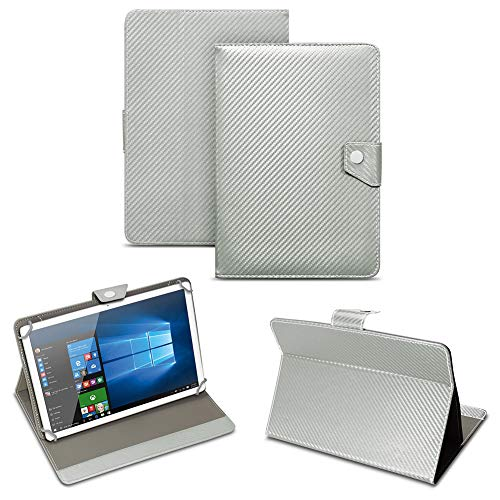 NAUC Universal Tablet Tasche mit Standfunktion Hülle für Blaupunkt Endeavour 101M 101G 101L Tablet Schutztasche in Edler Carbon-Optik Schutzhülle Cover Case, Farben:Silber