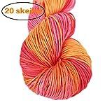 Lotus Yarns - Ovillo de lana de bambú para tejer a mano, 20 x 50 g