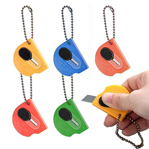 6 pack Mini Portable Utility Office Keychain with auto Retractable Blade Pocket Knives Letter Opener Small Box Cutter (MIX COLOUR 6PCS)
