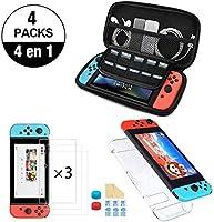 NDOOL Kit de Accesorios Nintendo Swich 4 en 1 con Funda Nintendo Switch, Carcasa Transparente Joy-con y Consola, 3 x...