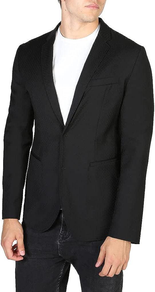 Emporio Armani Men's Solid Black Wool Luxury Blazer Jacket Suit Formal Jacket