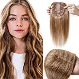 100% Remy Human Hair Silk Base Top Hair pieces Crown Topper Clip in Hair Toppers 120% Density Top Hairpieces for Women with Hair Loss Thinning Hair Cover Gray Hair #27 Dark Blonde 12inch 40g