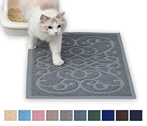 PetLike Cat Litter Mat Kitty Litter Mats for Tray Boxes, Kitty Litter Trapping Mat House Floors Clean (30 x 18, Light Grey)
